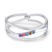 Small Square Crystal Women Bangles Made With SWA Elements Female Accessories Luxury Brand Jewelry China Import