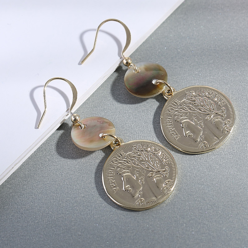 Vintage Avatar Coin Pendant Drop Earrings for Women Gold Ethnic Dangle Earring Female Statement Jewelry Brincos