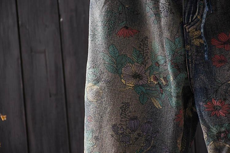 Pantalones Retro Elástico Flojos El Lavado Multiple Línea Encaje Viejo Literario Jeans Salvaje Impresión Sen Harem Hacer Femenina OqHdWxwU
