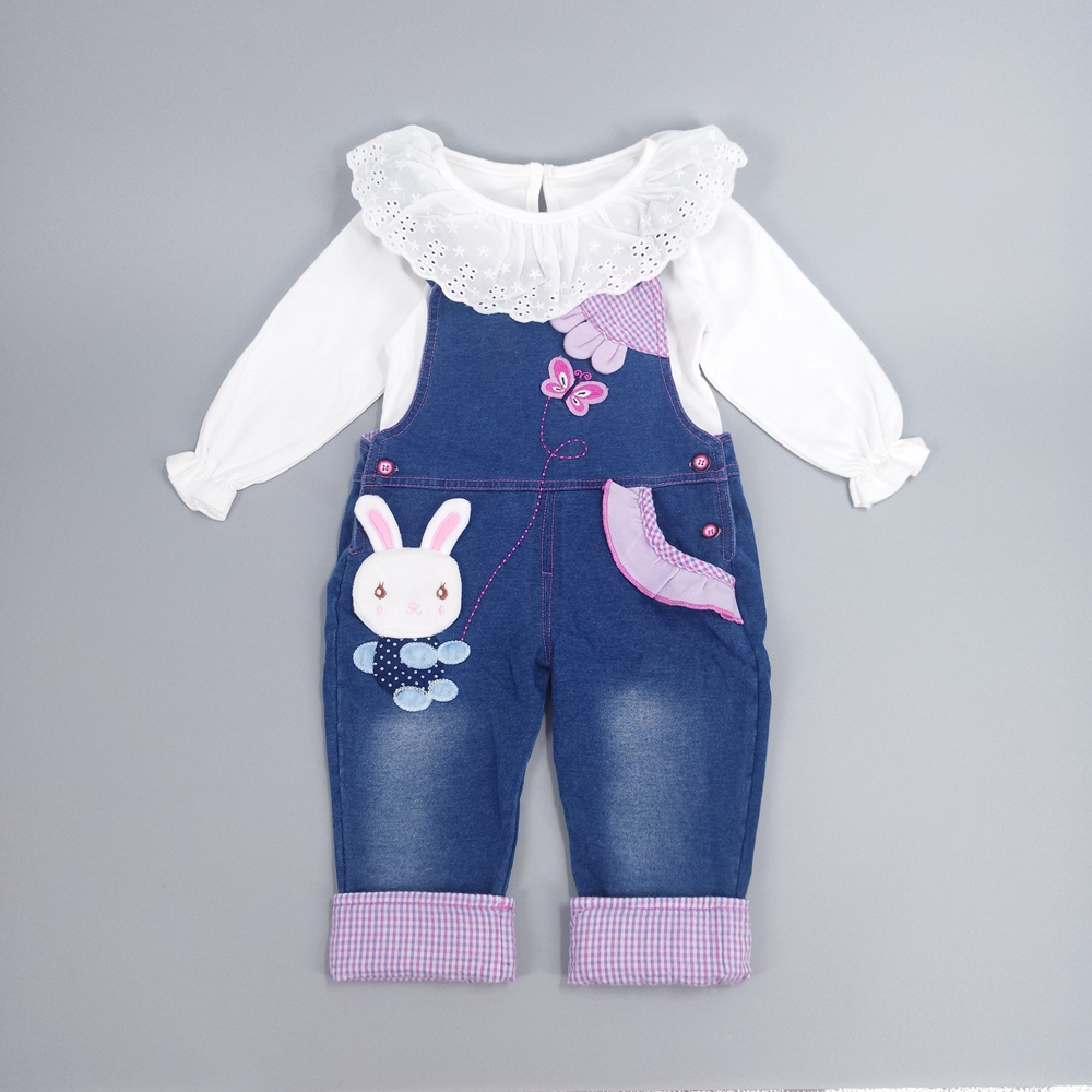 все цены на Chumhey Baby Girl Clothing Sets Kids Jeans Bib Overalls High Quality Cotton T Shirt With Denim Jumpsuits For Spring Autumn