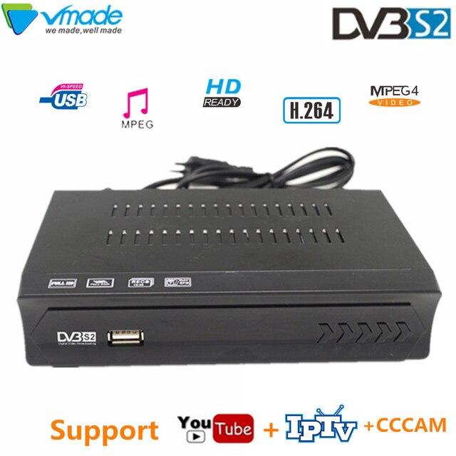Vmade DVB S2 hd receptor caixa de tv digital dvb s2 m5 receptor de tv por satélite h.264 mpeg4 suporte iptv youtube cccam bissvu decodificador de tv