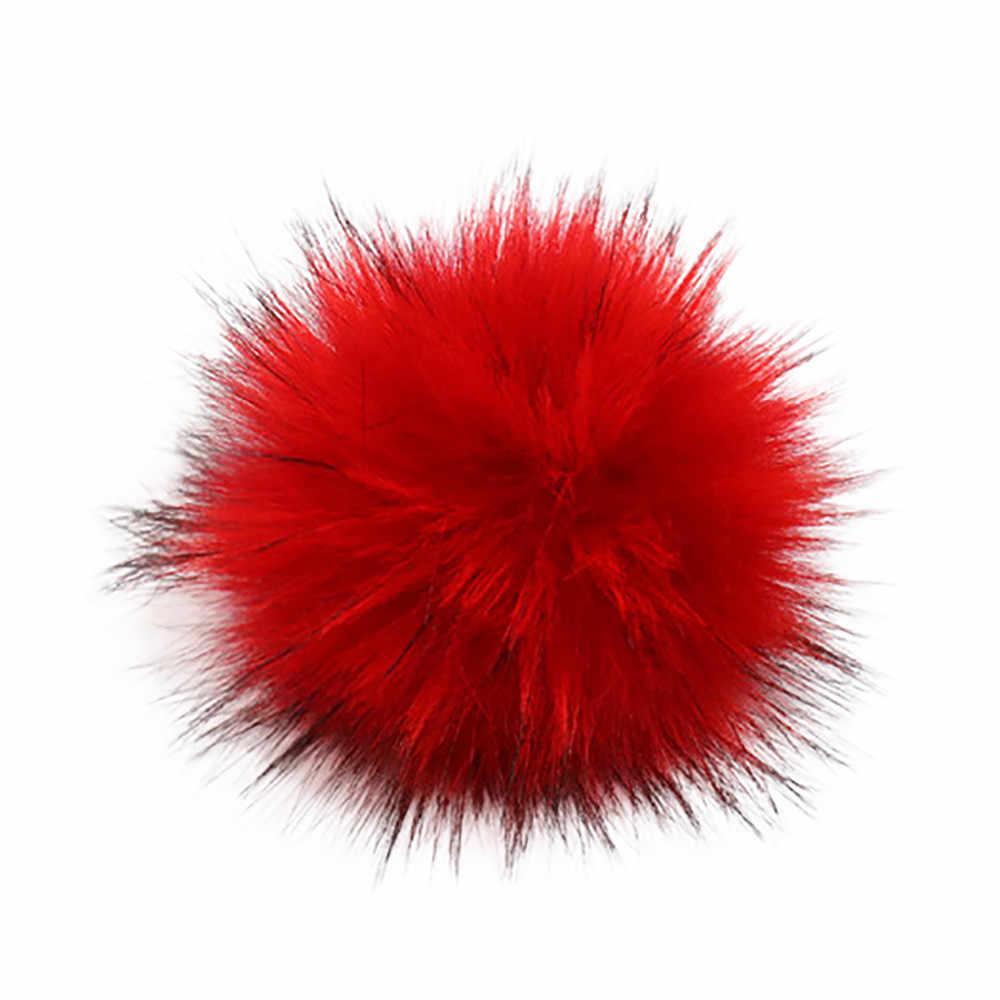 12 cor Anti comprimir Poliéster Artificial Fur Pom pom Para Skullies Gorros De Malha Bola de Pêlo Falso Para Chave Sacos Cadeia acessórios