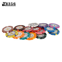 K8356 25PCS / Lot 14g Dupla színes USD Film Agyag Texas Hold'em Chip Poker Játékkártya Chips Mahjong Baccarat Coin Baccarat Chips