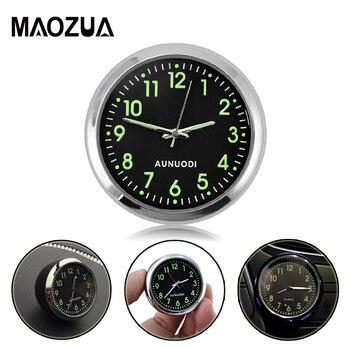 783a8579cc25 Mini coche reloj Auto accesorio reloj Digital electrónica relojes mecánicos  cuarzo noctilucentes ver puntero en los coches