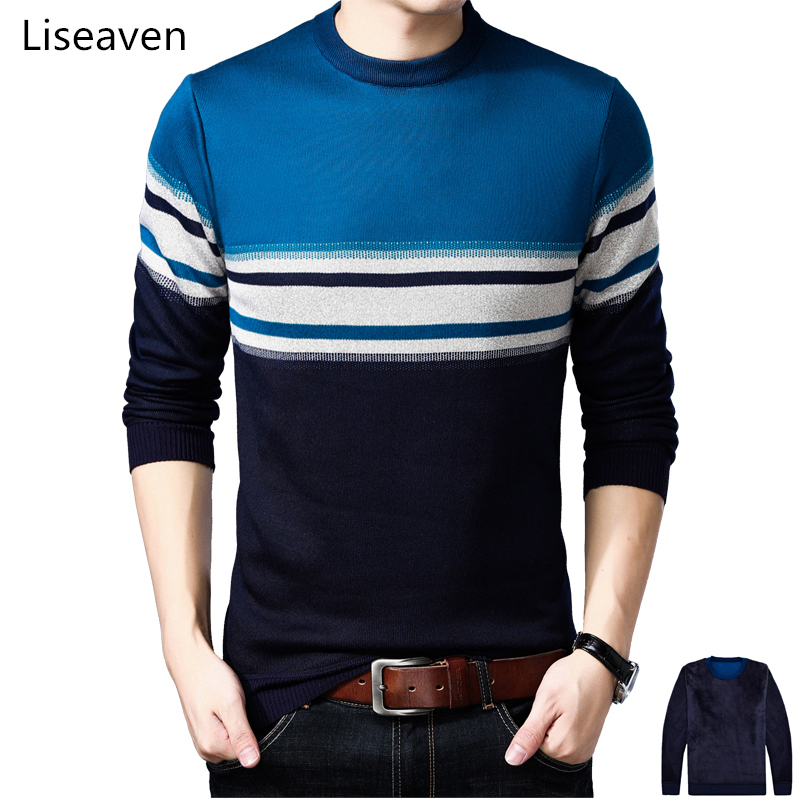 Liseaven Thick Fleece Sweaters Male Striped Pullover Sweaters Men 2018 Winter Pull Homme Men's Clothing