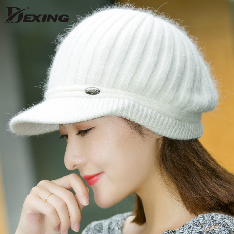 velvet thick keep warm winter hat for women  Rabbit Fur  knitted beanies  Ladies Female Fashion Skullies Elegant Hats for Women velvet thick keep warm winter hat for women rabbit fur knitted beanies ladies female fashion skullies elegant hats for women