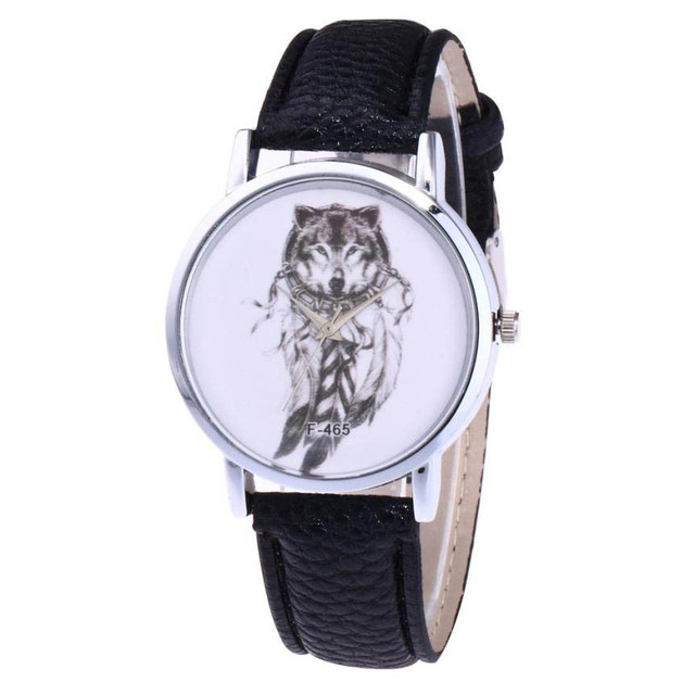 2018 high Quality Women Man Watches Wolves Unisex Quartz PU Leather Analog Wrist