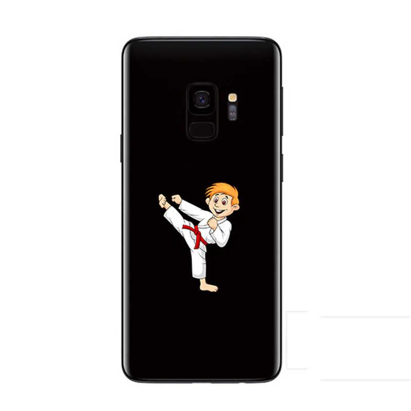 電話ケース S9 S8 S6 S7 エッジケースかわいい漫画ボクシング空手戦いソフト黒カバーのためのサムスン注 9 Note8