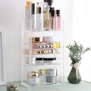 Image 1 - Nowy przezroczysty akrylowy organizator na przybory do makijażu lakier do paznokci szminka kosmetyczny uchwyt na próbki Makeup Brush Make Up Storage Organizer Box półka