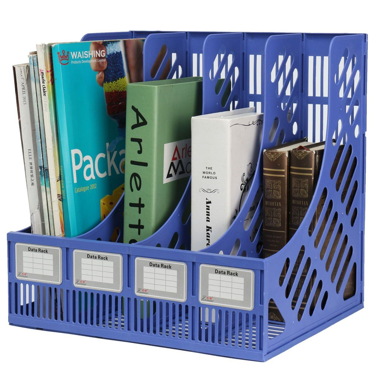 Aliexpress : Buy 4 Section Divider File Rack Paper Magazine Holder  Multifunction Storage Hanger Home Office Desktop Book Box Plastic Bookshelf  From