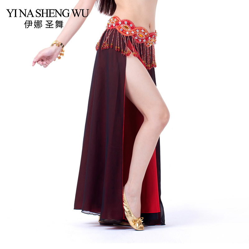 Long Dance Skirt Costume Performance Belly Dance 2-side Slits Skirt Sexy Women Oriental Belly Dance Skirt Professional No Belt