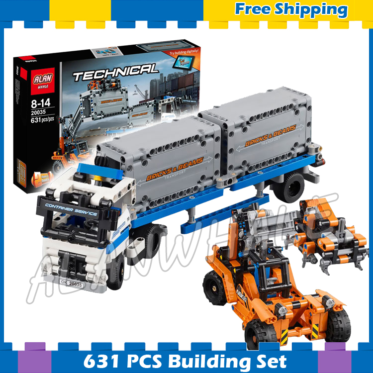 631pcs 2in1 Technic Container truck and loader Straddle-Carrier Yard 20035 Model Building Kit Blocks Sets Compatible With <font><b>Lego</b></font> image