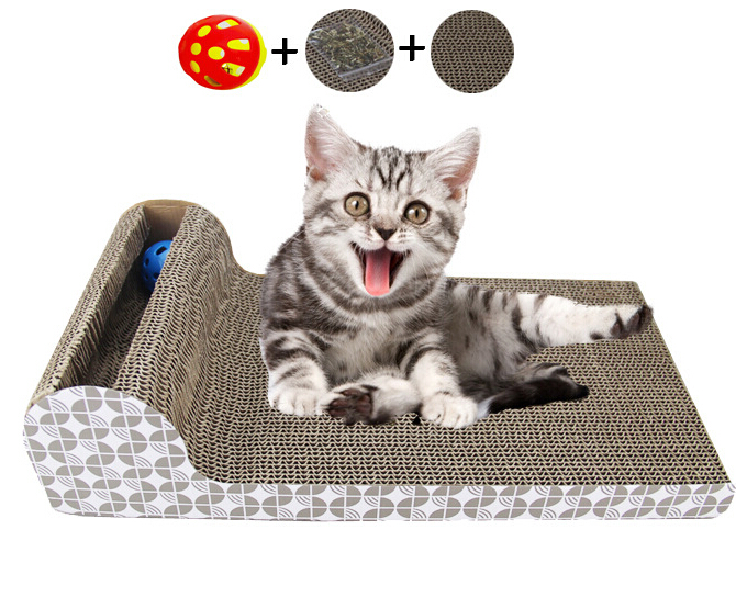 Funny Pet Toy Square Cat Scratch Board Cat Scratching With Bells and Balls Corrugated Paper Cat Sofa Products for Pets