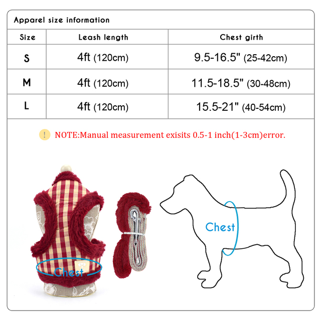 Soft Puppy Dog Cat Harness Leash Set Warm Padded Plaid Pet Harnesses Vest Christmas For Small Medium Dogs Chihuahua Yorkie S M L 5