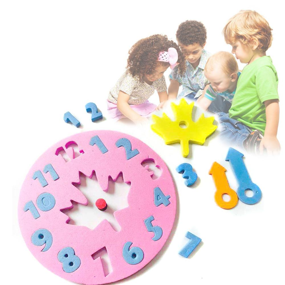 Foam Clock Jigsaw Puzzle Toy Fun Math Game DIY Handicraft  Clock Toy Early Learning Developmental Educational Toy Gift For Kids
