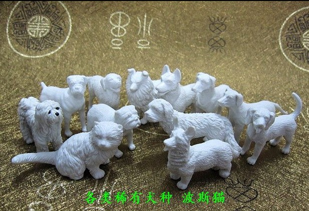 pvc figure Genuine simulation model toy white cat and dog for DIY 10pcs set