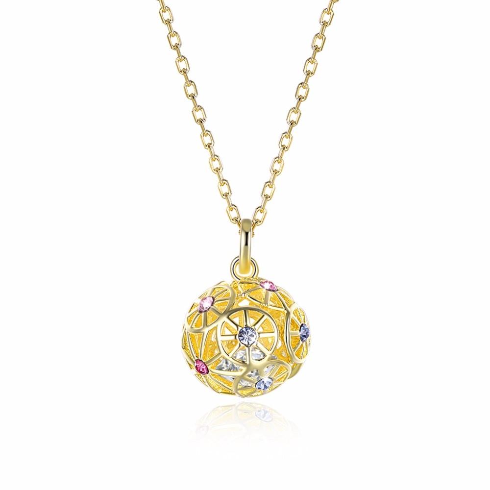 Genuine S925 Sterling Silver Pendant Necklace For Women Fine Jewelry Ball Handmade Bijoux Femme Crystal Swarovsk Wedding Jewelry