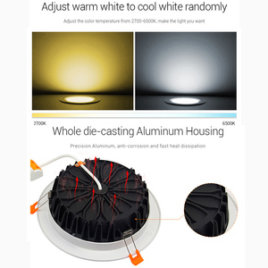 Image 3 - 25W RGB+CCT recessed indoor led ceiling Downlight dimmable AC100~240V hole size 200~210mm Compatible with 2.4G RF remote control