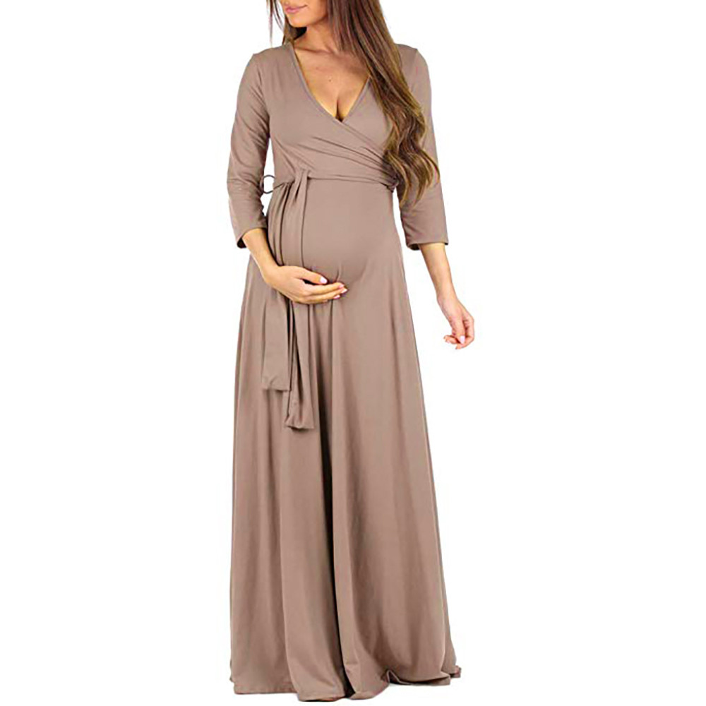 Pregnant Woman Fashion Wrap Maternity Dress Adjustable Belt Multi-function Dress #4O01 #F