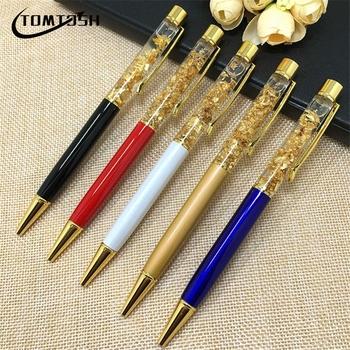 TOMTOSH 1pc 24k złota folia prezent długopisy metalowy kryształowy długopis kulkowe długopisy ze złotą folią wiele kolorów dostępne złote długopisy tanie i dobre opinie SKU LP025 1 0mm Biuro i szkoła pen 14 2cm
