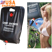 SEWS US Stock to USA 20L Portable Outdoor Camping Hiking Solar Energy Heated Camp Shower Bag PVC Shower Water Pipe Bag