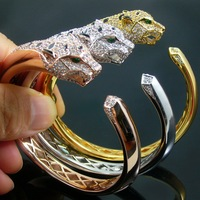 Luxurious High Quality Inlay Crystal Rose Gold Yellow Gold Silver Green Eyes Leopard Head Bangle