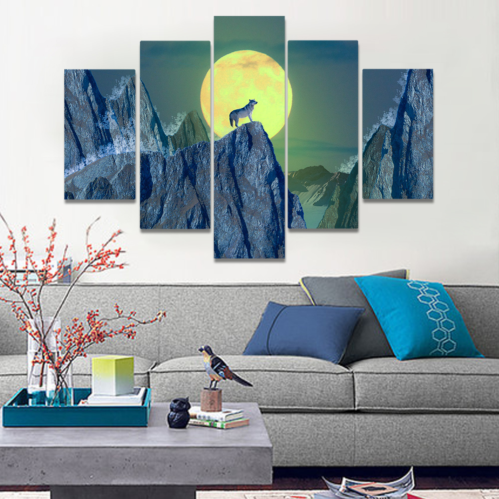 Unframed Canvas Painting Fog Cliff Wolf Full Moon Art Paintings Picture Prints Wall Picture For Living Room Wall Art Decoration