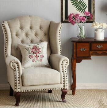 American Fabric Sofa  Single Wood Chair Sofa nordic small unit single fabric sofa chair cafe bedroom casual solid wood chair