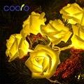 20LED Rose Flor de Navidad Led Luces de Navidad Cadena Hada Luz de Navidad de La Boda Decoración Para El Hogar 2.2 M Con Pilas
