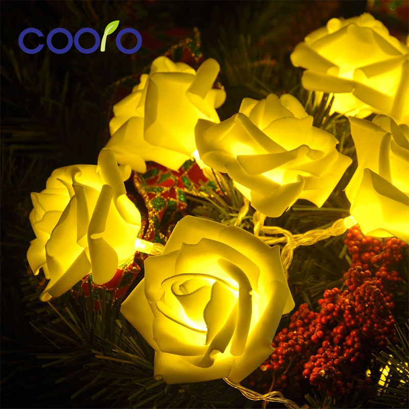 20LED Rose Flower Led Christmas Lights NewYear Wedding Christmas Decoration For Home String Fairy Light 2.2M Battery Operated feizhouying серебро 38 мм
