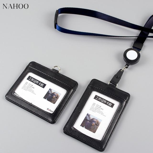 nahoo id holder bank credit card holder neutral leather work badge