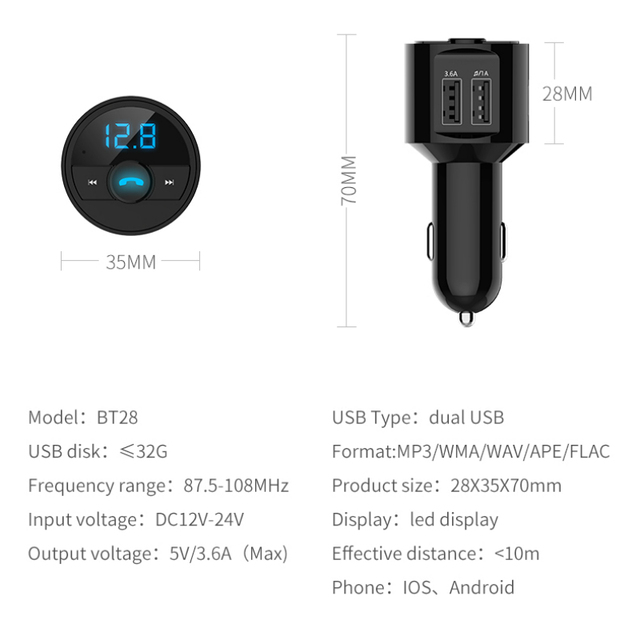 KORSEED 3.6A Quick USB Charger Bluetooth Car Kit FM Transmitter modulator Audio Music Mp3 Player Phone Wireless Handsfree Carkit 4