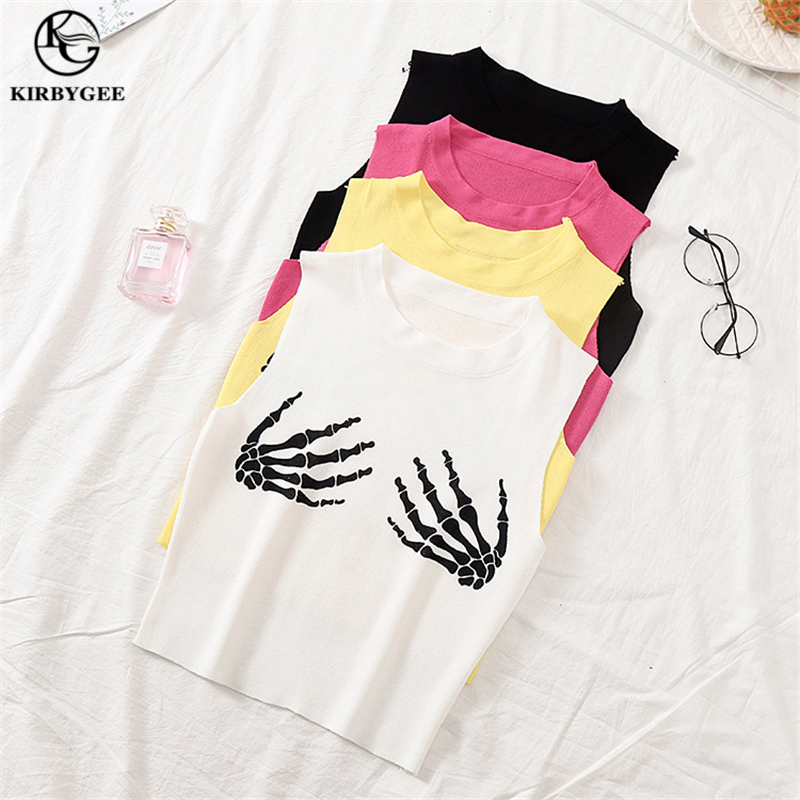 KirbyGee Sleeveless Skull Hand Print Tank Top White Funny Top Tank Streetwear Ladies Korean Fashion Top Knit Vest Women Big Size in Tank Tops from Women 39 s Clothing