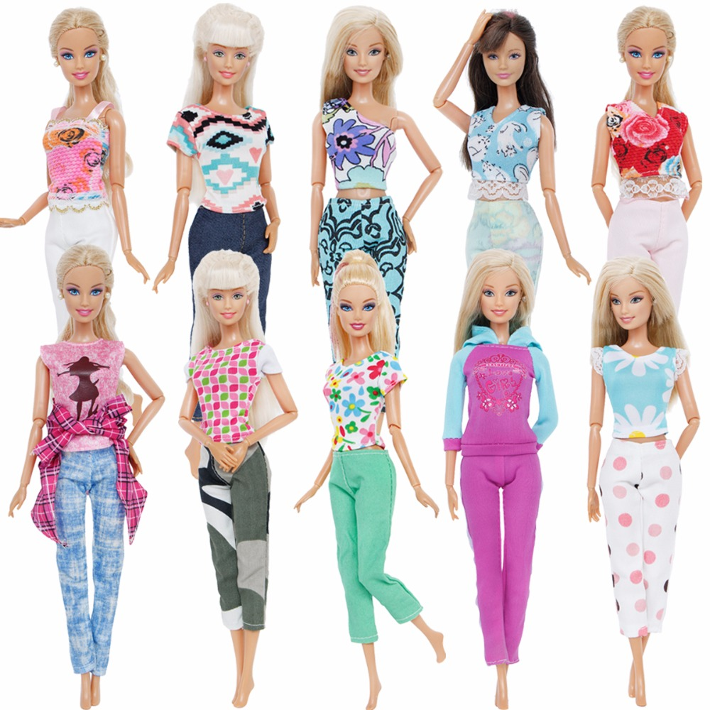 цена Newest Handmade Fashion Outfit Casual Wear T-shirt Blouse Vest Trousers Accessories Clothes For Barbie Doll Clothes Gifts Toys