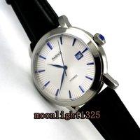 42mm parnis mostrador branco azul marcas miyota 8215 automatic mens watch