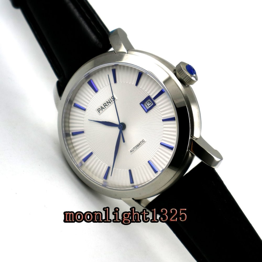42mm parnis white dial blue marks miyota 8215 automatic mens watch fashion 42mm parnis white dial blue marks 2017 luxury brand watch mens sapphire glass miyota 9100 automatic men s business watch