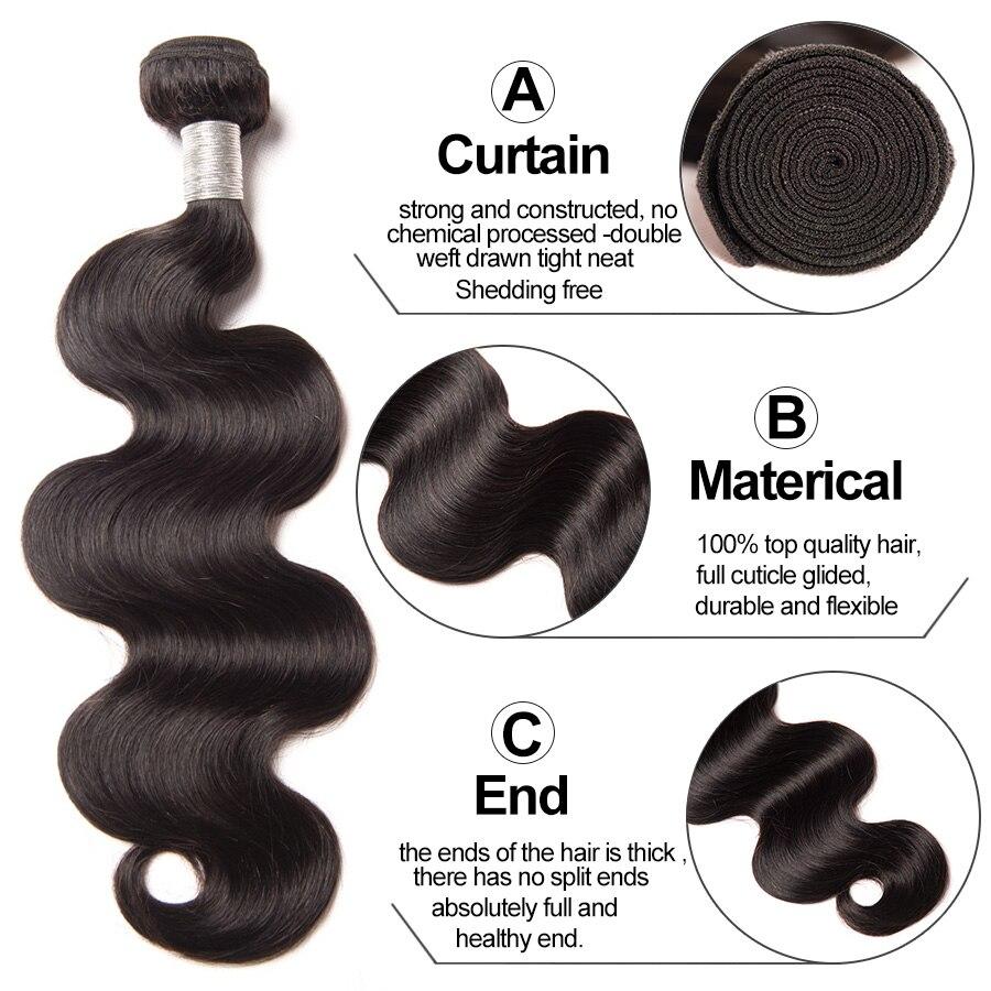 RXY Indian Haar Body Wave Haarbundels 100% Remy Menselijk Haar Weave - Mensenhaar (voor zwart) - Foto 2
