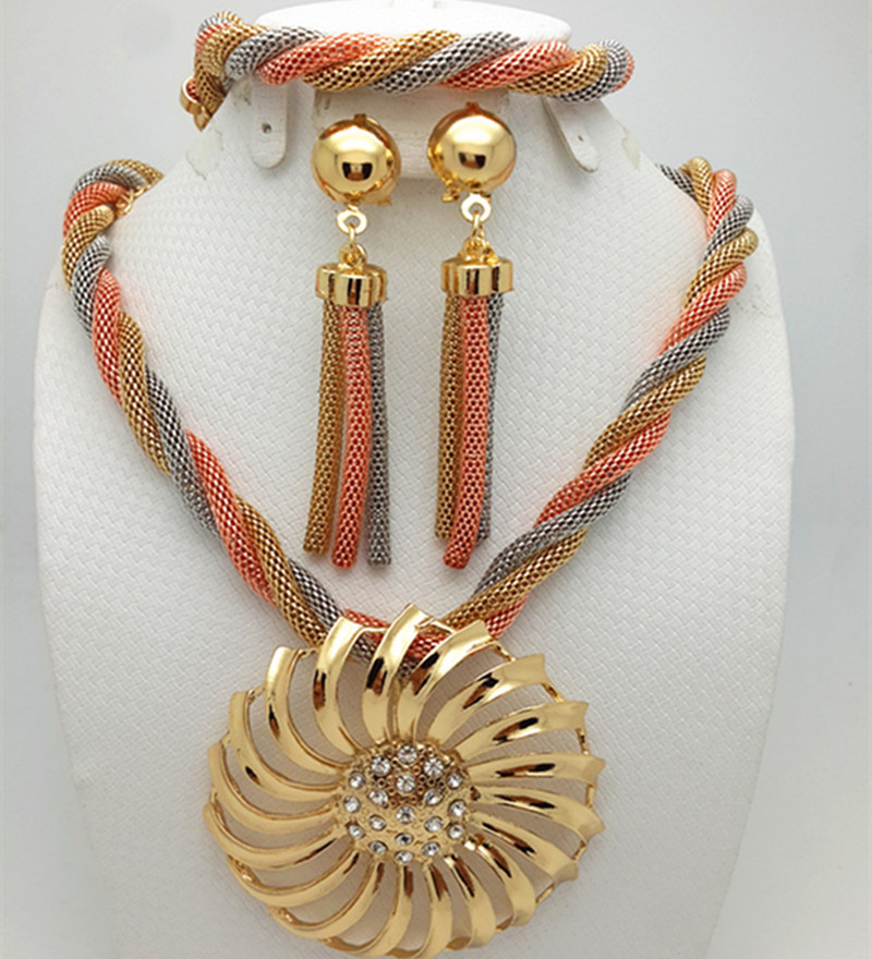 Zuodi Jewelry-Set African Beads Dubai Gold Nigerian Bridal Women Luxury Design Fashion title=