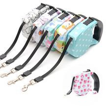 New Dog Leads Retractable Leashes Big Size 5M For Dog Walking Printed Flower Automatic Adjustable Free Shipping Pets Supplier