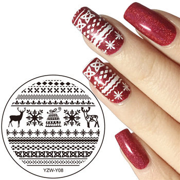 Diameter 5.5cm Round Nail Art Stamping Template Image Plate 20 Designs YZW-Y Series Nail Stamping Plates Manicure Stencil Set
