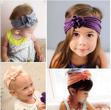 2018 új gyapjú rugalmas újszülött lányok fejpánt virág haj zenekar gyermekek csomó fejpánt baba turban fejpánt bandeau bebe