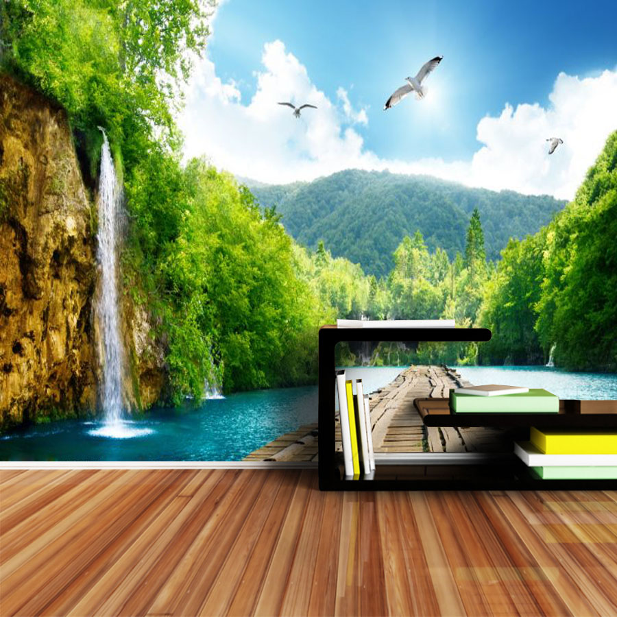 Photo Wallpaper For Walls In Rolls 3d On The Wall Murals Wallpapers Paper Home Decor 3 D Waterfall Decoration Papel De Parede