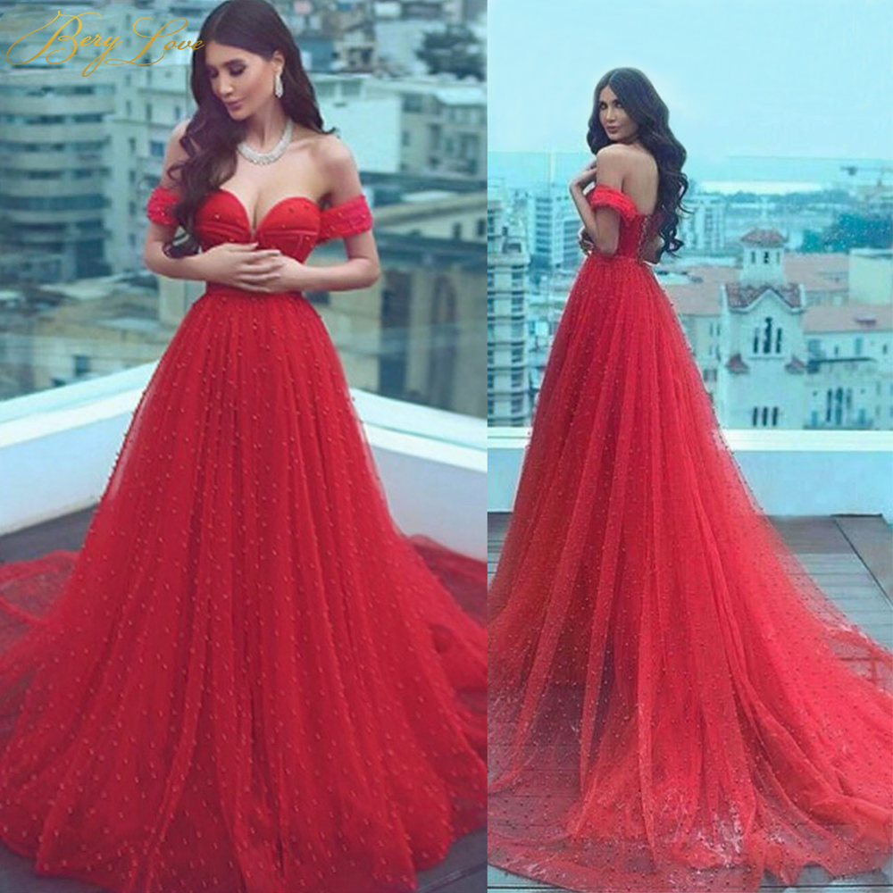 Charming Pearls Red Evening Dresses 2019 Long Off Shoulder Evening Gowns Lace-Up Elegant Formal Evening Dress Cheap Prom Dress