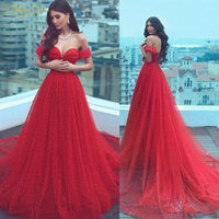 Charming Pearls Red Evening Dresses 2020 Long Off Shoulder Evening Gowns Lace Up Elegant Formal Evening Dress Cheap Prom Dress