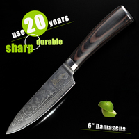HAOYE 6 inch chef knife Damascus kitchen knives Japanese Premium knife very sharp knife brown round wood handle free shipping