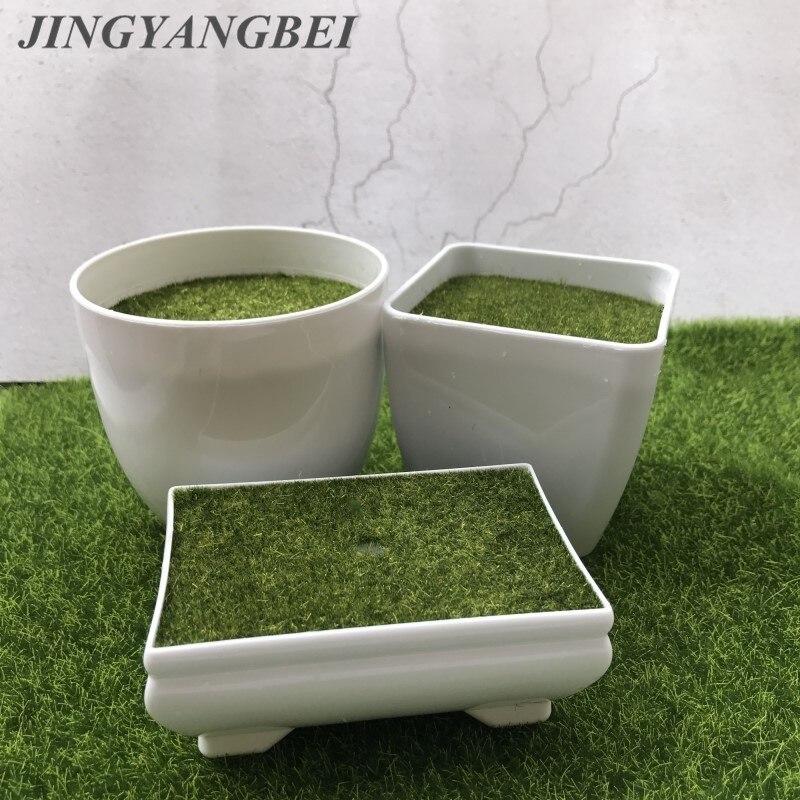 White Geometry Plastic Flower Pot Plant Vase Simple Moderm Flowerpot With Mos Foam Floral Arrangement Accessories home decora figure class ultra instinct goku