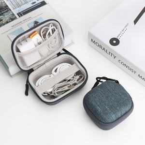 Image 2 - IKSNAIL EVA Hard Zipper Mini Earbuds Earphone Case For BlueBuds Leather Case In ear Bluetooth Earphone Bag Charger Organizer
