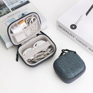 Image 2 - Жесткий мини чехол IKSNAIL EVA на молнии для наушников, кожаный чехол для наушников BlueBuds, Bluetooth сумка для наушников, зарядное устройство, Органайзер