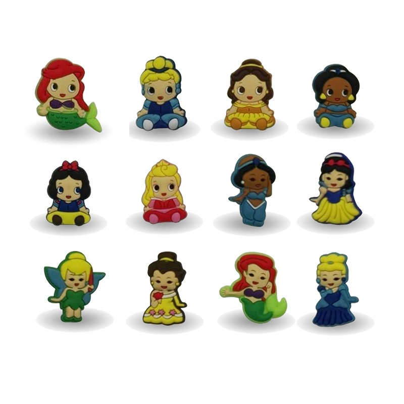 New Arrival 100pcs Cute Princess decoration PVC Pins badges brooches collection DIY charms Fit For Shoe Accessories Shoes Decor