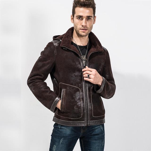 Aliexpress.com : Buy Men's Brown Short Shearling Jacket Sheepskin ...
